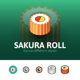 Sakura roll icon in different style Stock Images