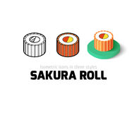 Sakura roll icon in different style. Sakura roll icon, vector symbol in flat, outline and isometric style Stock Photography
