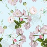 Sakura. Seamless pattern. Pink Cherry blossom branches with herbs and anemones flowers. royalty free illustration