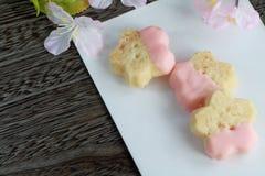 Sakura shortbread. Sakura shaped shortbread with pink chocolate Stock Image