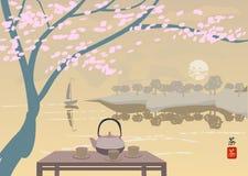 Sakura . Tea ceremony. Royalty Free Stock Image
