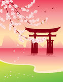 Sakura and Tori. Torii Gate on Miyajima Island Royalty Free Stock Photography