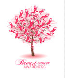 Sakura tree with breast cancer awareness ribbons. Royalty Free Stock Images