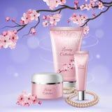 Sakura Tubes Of Cosmetics Composition royalty free illustration