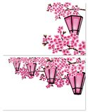 Sakura. Two pictures. a branch of a cherry tree with purple flowers on a white background. A series of glowing garden stock illustration
