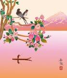 Sakura. Un barcaiolo solo. Fotografia Stock