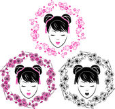 Sakura wianek i azjata dziewczyny portret ilustracji