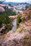 Sakura y camino en otoño en Yoshino Mountain imagenes de archivo