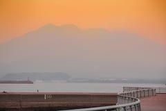 Sakurajima, портовый район Кагошимы стоковые изображения rf