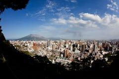 Sakurajima eruption brings  ash to Kagoshima City Stock Photos