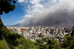 Sakurajima eruption brings  ash to Kagoshima City Royalty Free Stock Images