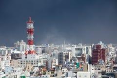 Sakurajima erupts, ash falls on Kagoshima City Royalty Free Stock Photos