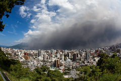 Sakurajima erupts, ash falls on Kagoshima City Stock Photo