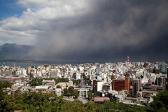 Sakurajima erupts, ash falls on Kagoshima City Stock Images