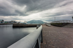 Sakurajima, Kagoshima waterfront. KAGOSHIMA,JAPAN - 19 JUNE,2017: Sakurajima is an active composite volcano and a former island . however the city provide the Stock Photo