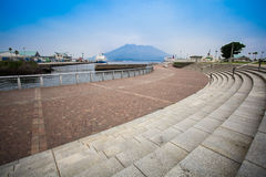 Sakurajima, Kagoshima waterfront. KAGOSHIMA,JAPAN - 19 JUNE,2017: Sakurajima is an active composite volcano and a former island . however the city provide the Stock Photography