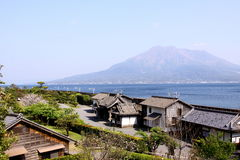 Sakurajima view from Kagoshima. Sakurajima composite volcano view from Kagoshima, Japan Royalty Free Stock Photo