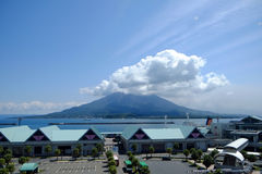 Sakurajima volcano. This volcano was erupted in past several decade and 13 were killed. After the terrified event, the morphology of the island was changed. This Royalty Free Stock Photo