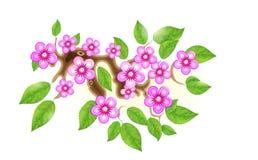 Sakuratak met bloemen in animestijl, kersenbloesem, illustratie Gedeeltelijk geanimeerde stilistische oplossing binnen royalty-vrije illustratie