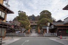 Sakurayama Hachimangu寺庙在高山市,日本 免版税库存图片