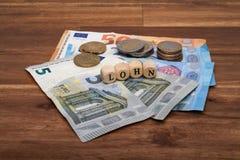 Salário mínimo Lohn alemão imagens de stock