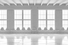 Salão branco confortável interior, modelo minimalistic do sótão Imagem de Stock Royalty Free