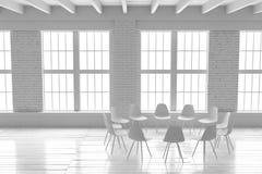 Salão branco confortável interior, modelo minimalistic do sótão Imagens de Stock Royalty Free