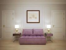 Salão com tendência moldada dos painéis de parede Fotografia de Stock