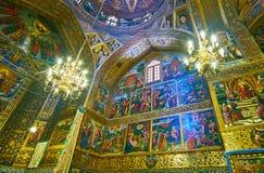 Salão da oração da catedral de Vank em Isfahan, Irã Fotos de Stock Royalty Free