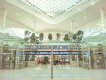 Salão da partida do trem e do ônibus no terminal de aeroporto internacional 2 de Incheon que abriu este fotografia de stock royalty free