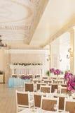 Salão das celebrações, interior elegante do banquete foto de stock