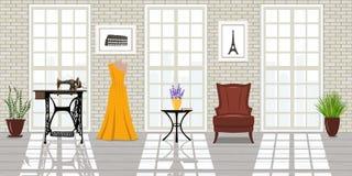 Salão de beleza da forma, local de trabalho do alfaiate Estúdio de Vogue Imagens de Stock