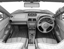Salão de beleza do carro sob a forma de uma grade ilustração 3D Fotografia de Stock