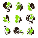Salão de beleza natural Logo Design Set dos termas do cabelo da beleza da mulher Fotos de Stock Royalty Free