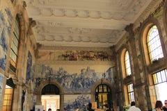 Salão de estação de caminhos-de-ferro de Porto, Portugal Imagens de Stock Royalty Free