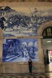 Salão de estação de caminhos-de-ferro de Porto, Portugal Fotos de Stock Royalty Free