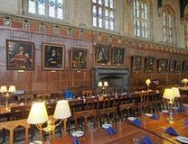 Salão de jantar da faculdade de universidade de Oxford imagem de stock