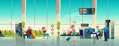 Salão do aeroporto com controlo de segurança, costumes internacionais ilustração royalty free