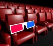 Salão do cinema e vidros 3d vazios Imagem de Stock Royalty Free