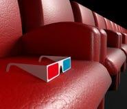 Salão do cinema e vidros 3d vazios Foto de Stock Royalty Free