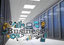 Salão dos servidores com negócio azul e amarelo rabisca e alarga-se Imagens de Stock