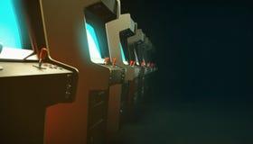 Salão escuro com uma fileira do azul do fulgor das telas dos armários da máquina da arcada do vintage e profundidade de campo 3d Imagem de Stock Royalty Free