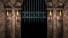 Salão medieval com porta 4K do ferro filme