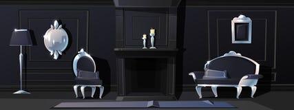 Salão preto luxuoso do vetor com moldes de prata ilustração royalty free