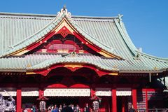 Salão principal de Honden do santuário de Kanda em Chiyoda, Tóquio Imagens de Stock Royalty Free