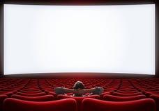 Salão vazio do cinema com o homem só do VIP que senta a ilustração 3d Fotografia de Stock Royalty Free