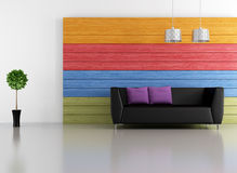 Salón colorido minimalista Foto de archivo libre de regalías