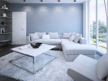 Salón contemporáneo con las paredes azules Fotografía de archivo libre de regalías