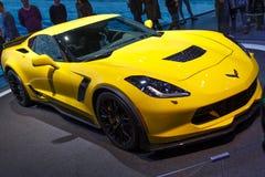 Salón del automóvil amarillo 2015 de Chevrolet Corvette Z06 Ginebra imagen de archivo libre de regalías