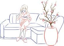Salón del balneario de la serie - la mujer bebe té después de balneario-proc libre illustration